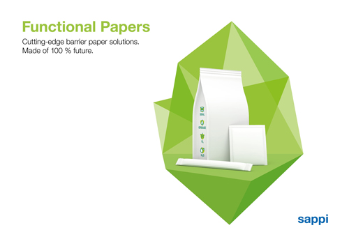 Sustainable packaging papers with integrated heat sealing and barrier functions